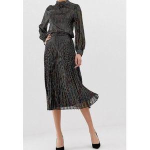 NWT ASOS   Metallic Pleated Skirt